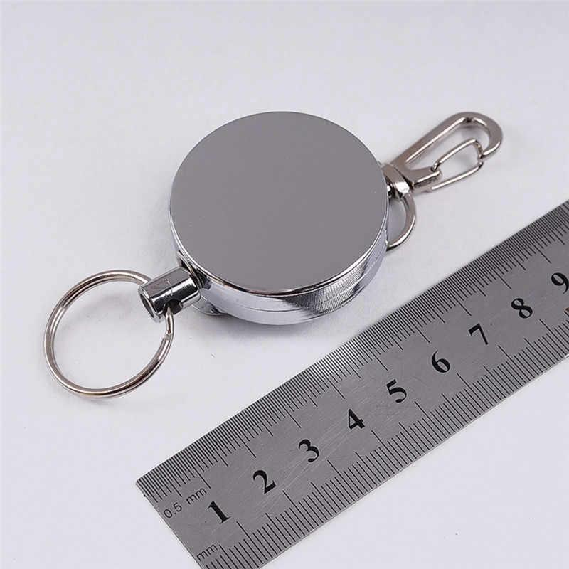 1 個シルバー反発鋼線ロープ弾性キーホルダー反動スポーティ格納式警報キーリングアンチロストスキーパス Id カード