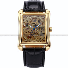 Luxury WINNER Golden Rectangle Stainless Steel Case Automatic Mechanical Black Leather Band Men's Dress Wrist Watch Gift /PMW079