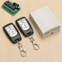 200M Wireless Remote Control Switch Transceiver 12V 3A 4CH Relay Switches With 2 Receiver Compatible With