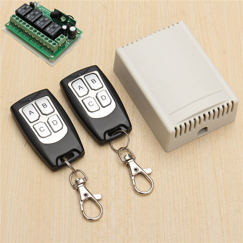 200M Wireless Remote Control Switch Transceiver 12V 3A 4CH Relay Switches With 2 Receiver Compatible With 2262 2260 1527 2pcs receiver transmitters with 2 dual button remote control wireless remote control switch led light lamp remote on off system