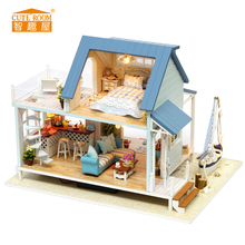 DIY Wooden House Miniaturas with Furniture DIY Miniature House Dollhouse Toys for Children Christmas and Birthday A037