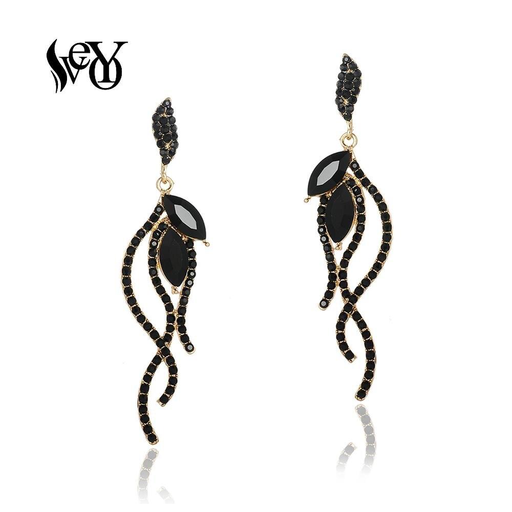 VEYO Crystal Dangle Earrings Trendy Line Shape Rhinestone Earings Fashion For Women Jewelry Pendant