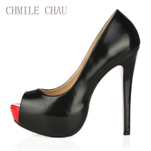 2017 New Black Sexy Party Shoes Women Peep Toe Stiletto Super High Heels Ladies Pumps Platform Shallow Zapatos Mujer 3463B-h1 недорого