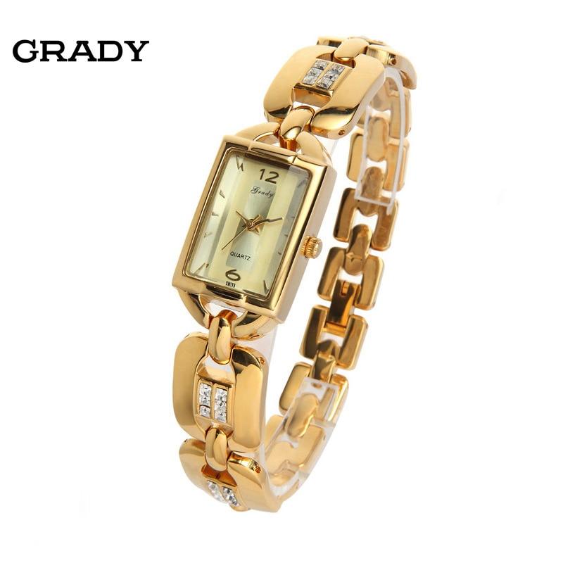 Chapado en oro impermeable pulsera Relojes 3atm IPG IPS muñeca relojes para  las mujeres 9ea7ffe0b940