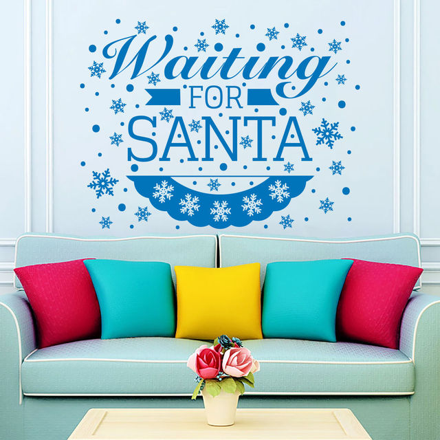 2018 Christmas Snowflakes Wall Decals Vinyl Letter Waiting For Santa Quotes  Wall Sticker Christmas Art Decor