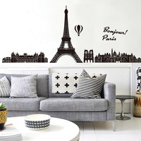 Zs Sticker  Paris wall stickers Eiffel tower wall decals skyline vinyl living room bedroom sticker background city