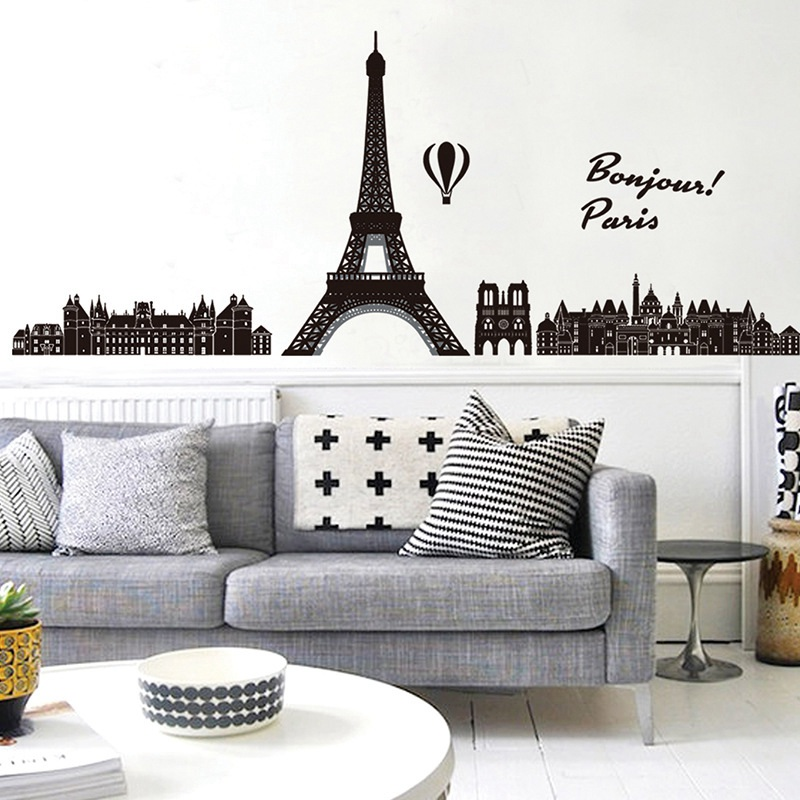 US $3.3 34% OFF|Zs Sticker Paris wall stickers Eiffel tower wall decals  skyline vinyl living room bedroom sticker background city-in Wall Stickers  ...