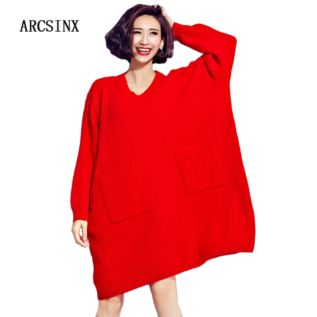 ARCSINX Oversized Sweater Dress Women 5XL 7XL 8XL 9XL 2017 Autumn ...
