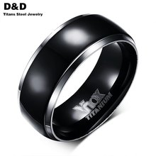 Men Titanium Rings Black Men Engagement Wedding Rings  Jewelry 8mm Wide High Polished Ring High Quality 100% Titanium TR-004