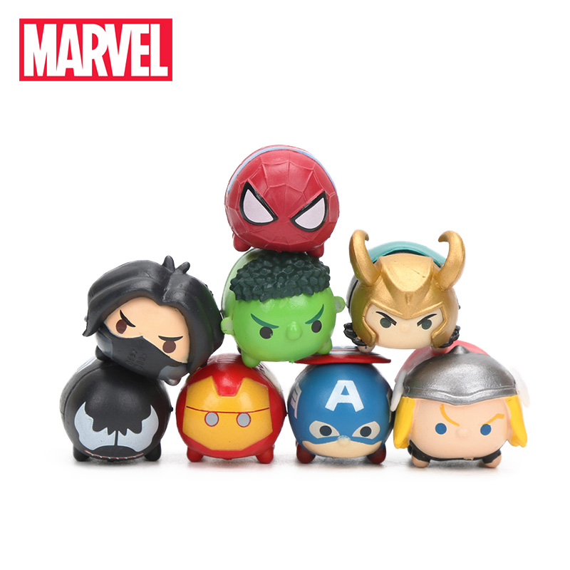 3.5*2cm 8pcs Marvel Toys Tsum Tsum The Avengers 3 Infinity War Spiderman Ironman Hulk Venom Thor Action Figure Set Model Dolls(China)