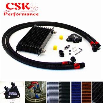 10 Row 262mm AN10 Trust Oil Cooler Kit+Male Sandwich Plate Adapter Fits For LS1 LS2 LS3 VT VX VY VZ VE 5.7L Black/Blue/Gold