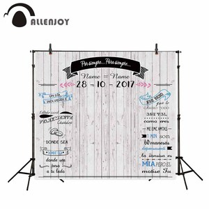Image 1 - Allenjoy fondos de fotografía con tablero de madera gris claro, Fondo de boda, banners personalizados, anillos, se pueden personalizar en cualquier idioma