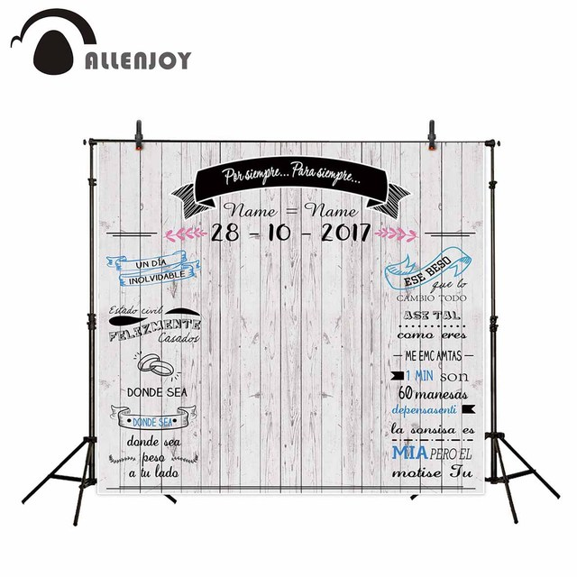 Allenjoy fondos de fotografía con tablero de madera gris claro, Fondo de boda, banners personalizados, anillos, se pueden personalizar en cualquier idioma