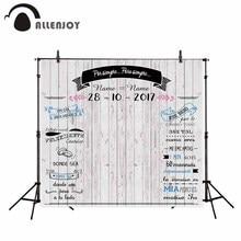 Allenjoy fotografie kulissen Licht grau holz bord hochzeit hintergrund Custom banner ringe können angepasst werden in jeder sprache