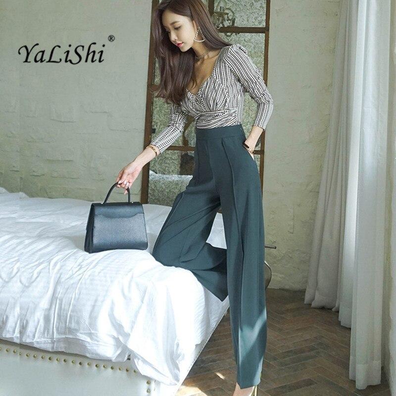 2 Piece Set 2018 Autumn Women OL Business Suit Elegant Office Long Sleeve V-Neck Tops And Wide Leg Pants Set Two Piece Pant Suit