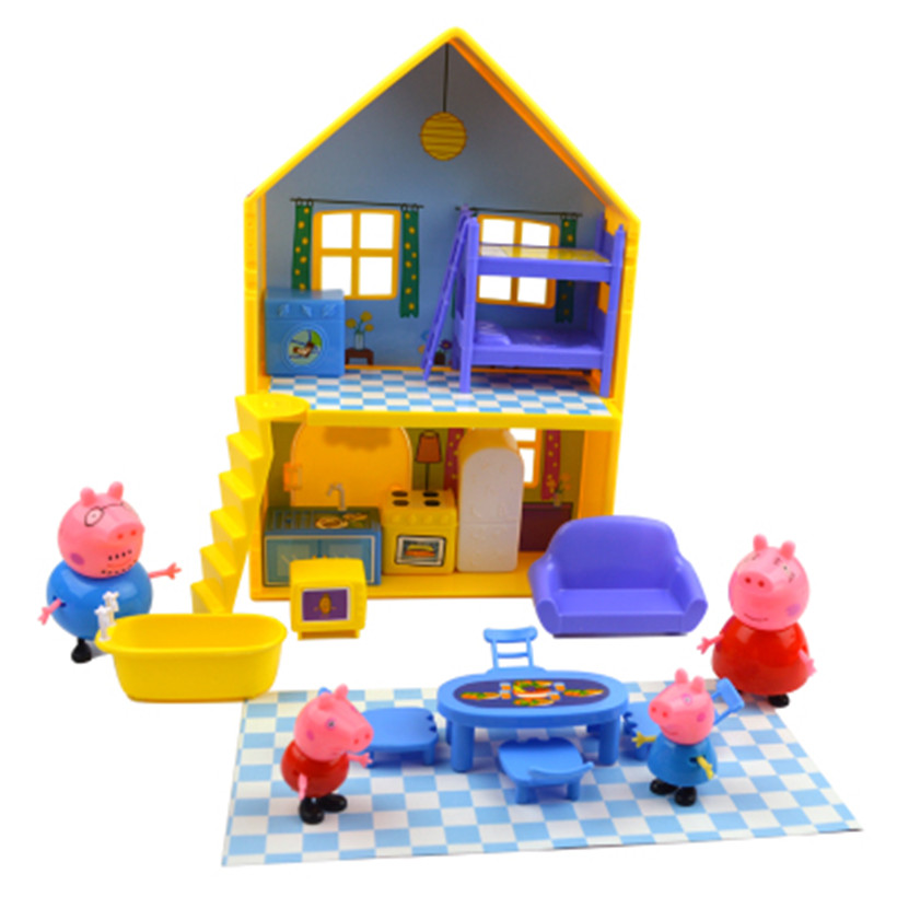 Peppa Pig Toys House Sports Car Family Full Roles Doll Action Figure Model Educational For Children Gifts