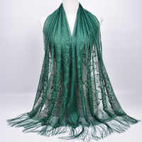 Muslim Headscarf Pure Lace Hollow Tassel Scarf Female Autumn and Winter Long Veil Scarf Europe and America Women Shawl