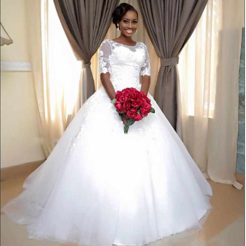 African 2017 newest vintage ball gown lace half sleeve for African lace wedding dress