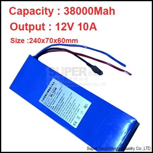 capacity 38A discharge 10A current (instantaneous current 30A),3A charger 12V li-ion battery pack,polymer lithium battery pack real 15000 mah 5a current discharge li ion polymer battery 2a charger dc 12v battery pack lithium polymer battery pack battery