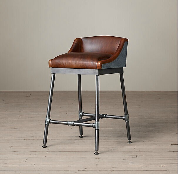 Industrial Metal Chairs Exercise Ball Chair Stand Stylish Bar Iron Highchair Leather Stools Soft Seat Cushion Reception