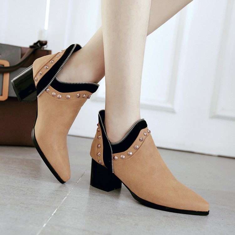 autumn ankle boots for women pointed toe fashion shoes black solid color rivet leather high heels martin boots hot sale цены онлайн