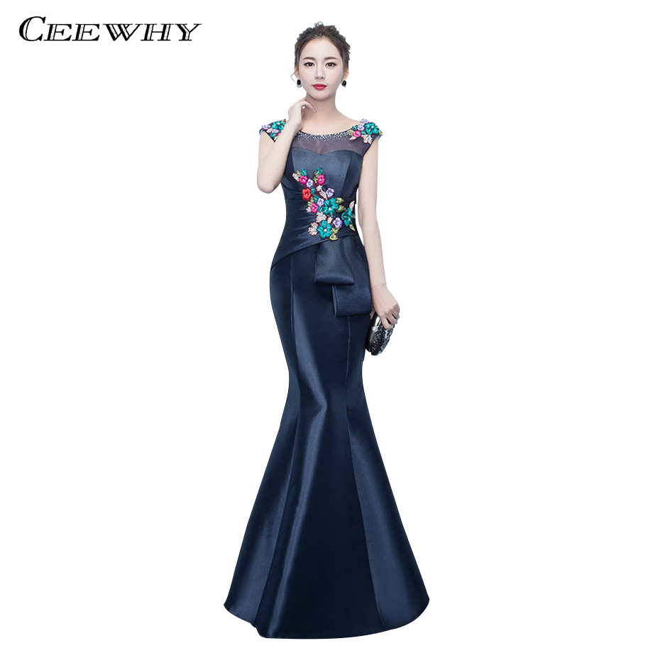 CEEWHY Embroidery Evening Dresses Long 2018 Luxury Prom Party Formal Dress  Elegant Mermaid Evening Gown Robe De Soiree Abiye 3c75799174f5
