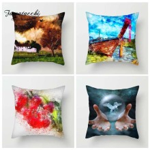 Fuwatacchi Oil Painting Style Cushion Cover Deer Boat Sun Flower Printed Pillow  Scenic Decorative Pillows For Sofa Car
