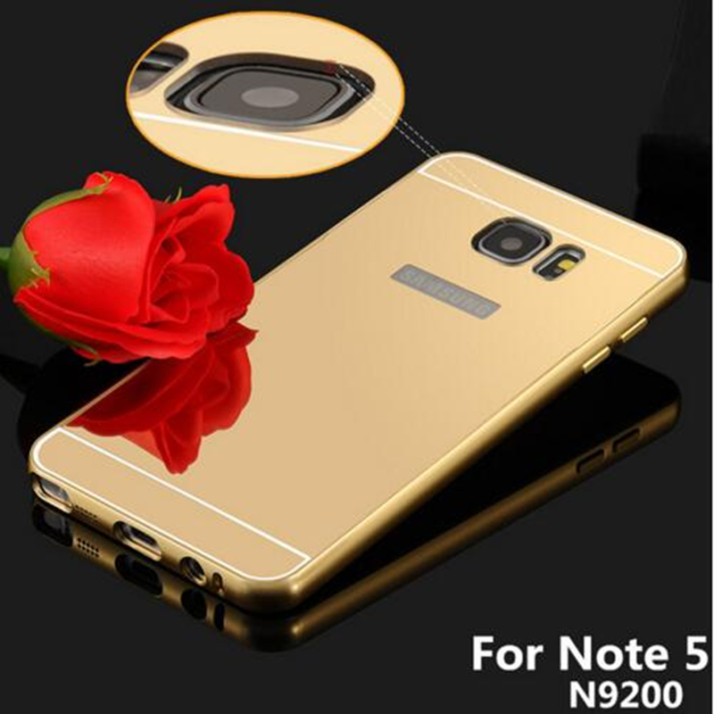 Note 5 Luxury Gold Plating Armor Aluminum Frame + Mirror Acrylic Back Cover Case for Samsung Galaxy Note 5 note5