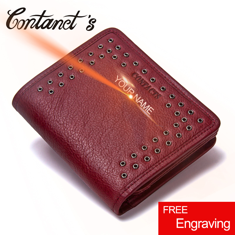 Contact's 2017 Womens Wallet Leather Genuine Small Short Wallets And Purses Luxury Brand Coin Pocket Money Bag With Card Holder