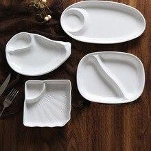 Белая имитация фарфоровой посуды тарелка двойной картофель фри тарелка креативная необычная тарелка для закуски поднос