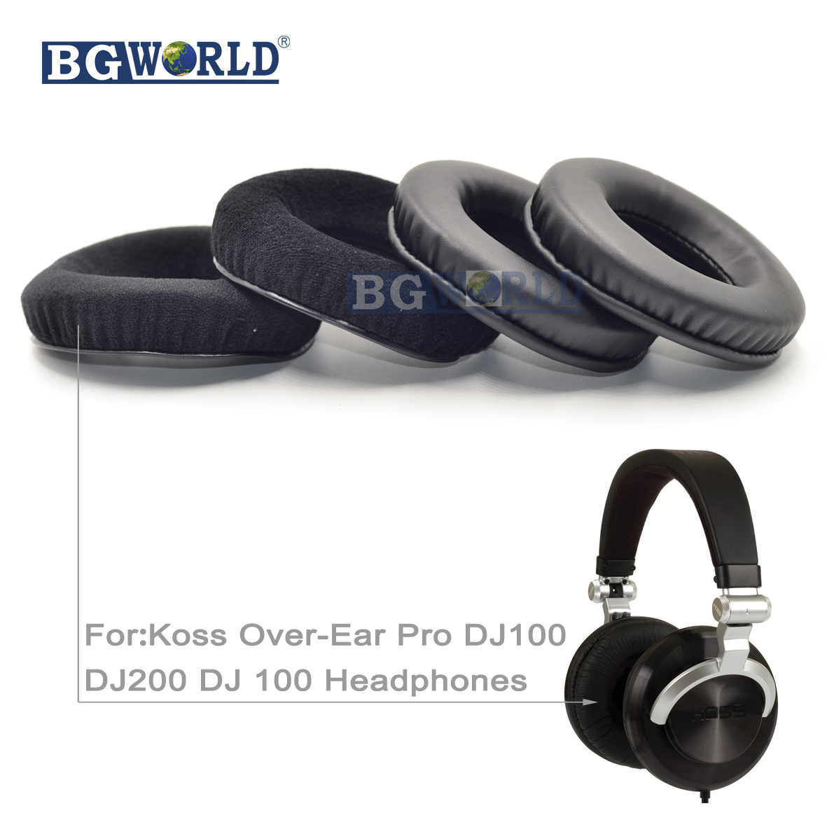 BGWORLD Replacement cushion ear pads earpads foam for Koss Over-Ear Pro DJ100 DJ200 DJ 100 Headphones part sponge