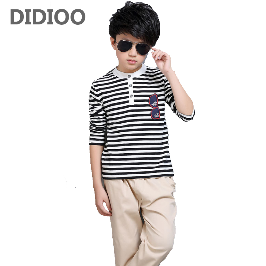все цены на  Boys Clothing Sets Cotton Striped Sports Suits Boys T-Shirts & Pants Spring Autumn Children Outfits Students Tees Boys Trousers  онлайн