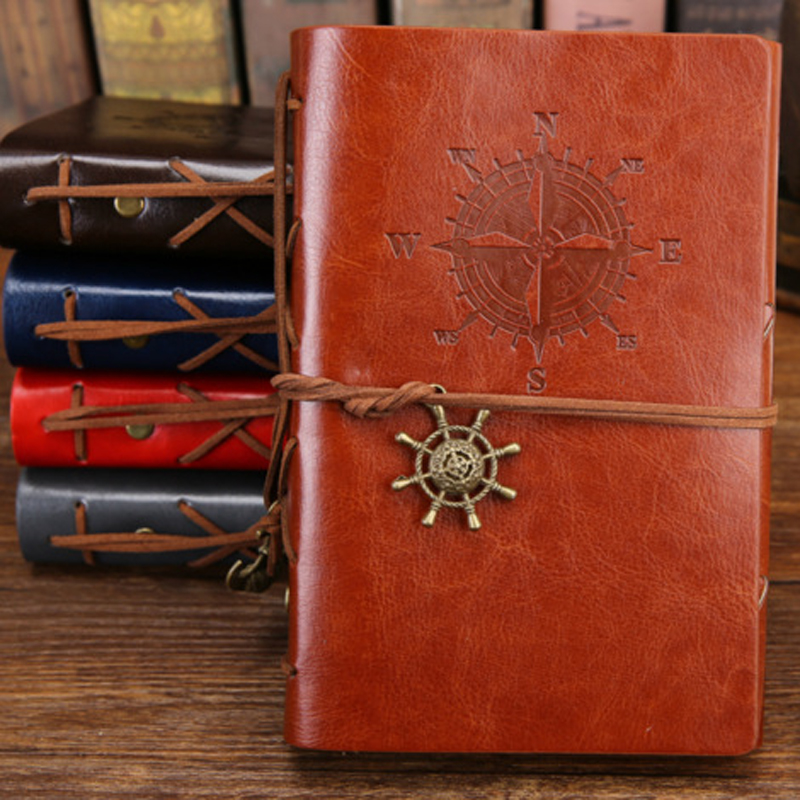 JUKUAI 1Pcs/Lot Spiral Notebook Diary Notepad Vintage Pirate Anchors PU Leather Note Book Replaceable Stationery Office Supplies