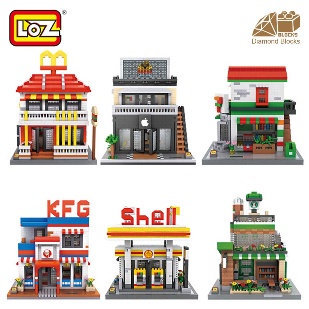 LOZ Diamond Blocks Architecture Mini Street View Building Blocks Bricks City Store Shop Model Gift for Children Toys Educational loz diamond blocks dans blocks iblock fun building bricks movie alien figure action toys for children assembly model 9461 9462