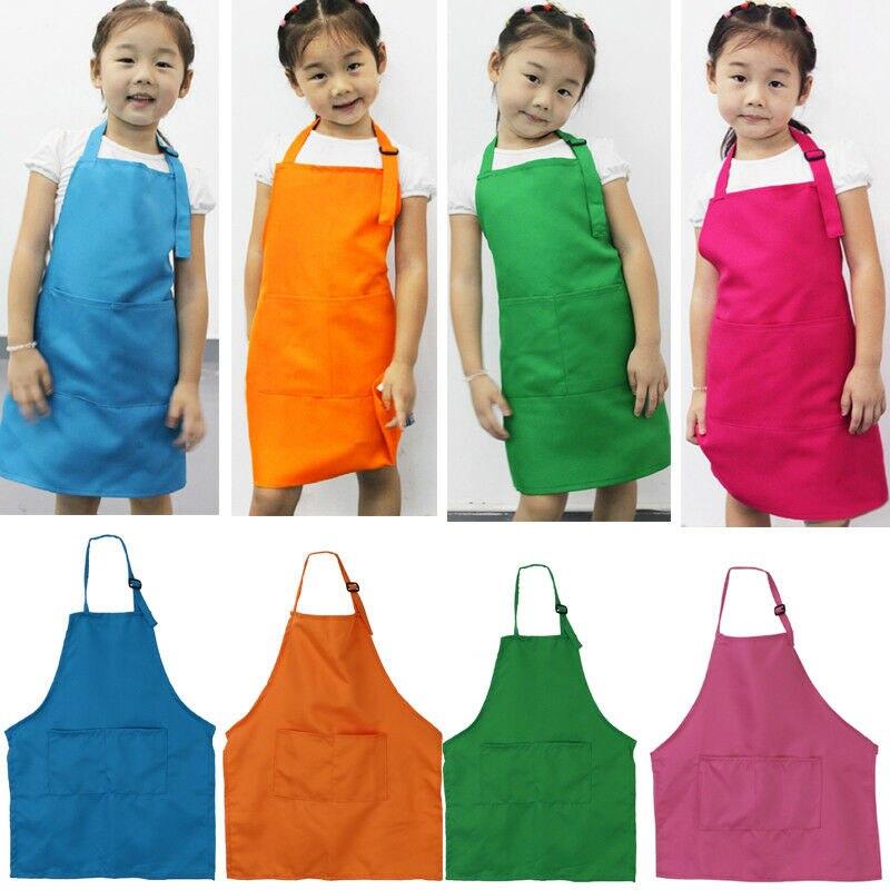 2019 Hot Children Kids Solid Plain Apron Kitchen Cooking Baking Painting Cooking Art Bib Apron