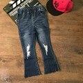 2017 Оптовая мода горячие новая девушка хлопок кисточка отверстие джинсы