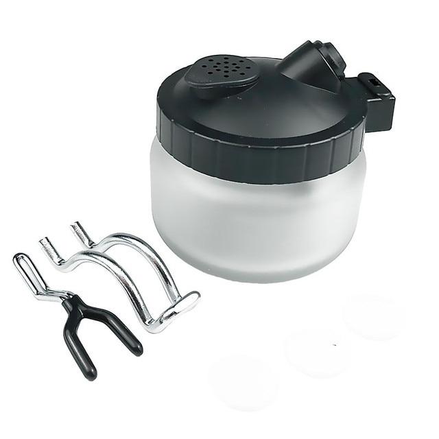 Aerógrafo limpieza Pot 0,2/0,3/0,5mm aguja boquilla cepillo conjunto pintura vidrio Jar Filtro de botellas Frosted Spray Gun Cleaner Tools kit