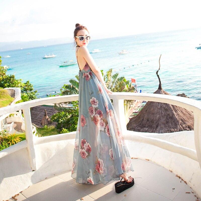 Bali Island beach robe féminine Xia 2018 new Bohême longue jupe vacances à la mer mince mince de Mousseline de Soie Robe de Fée