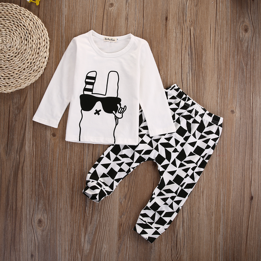Newborn Infant Baby Boy Clothes Long Sleeve T-shirt Tee +Harem Pants Outfits Set