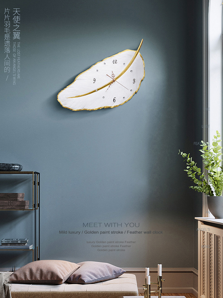 Nordic Mute Light Luxury Wall Clock Modern Design 3D Clock Beautiful Leaves Living Room Decoration Quartz Clock Wall Big Clock