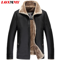 LONMMY 5XL 6XL 7XL Black Leather Jacket Men Thick Liner PU Suede Faux Fur Collar Male
