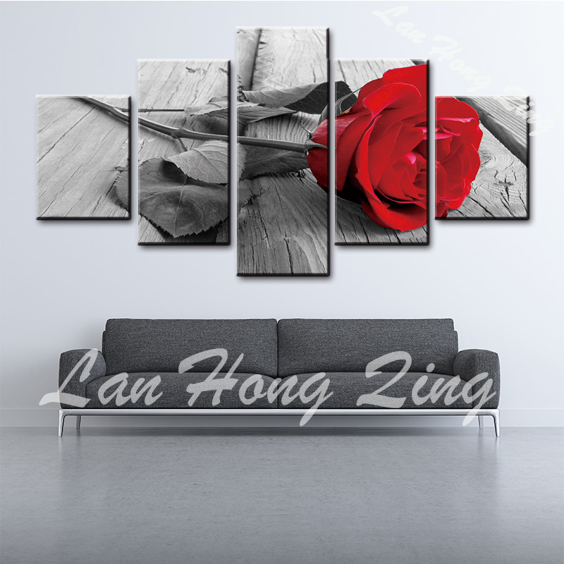 Home Decor Modular Painting Picture 5 Panel Posters Black and White Rose Flower Canvas Art Wall Pictures For Living Room 88-3