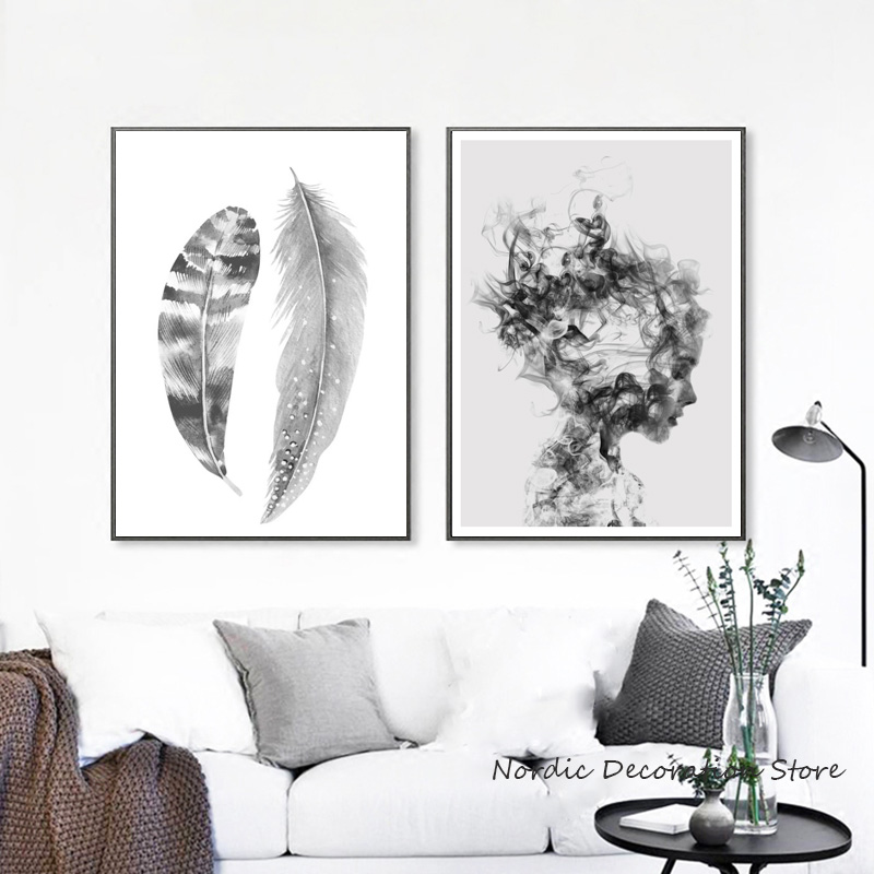 Canvas Painting Wall-Pictures White Posters Abstract-Art Prints Living-Room Black Unframed