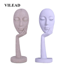VILEAD 15 Sandstone Abstract Mask Statuettes Miniatures Artistic Figurines Window Display Cabinet Entrance New Year Decor