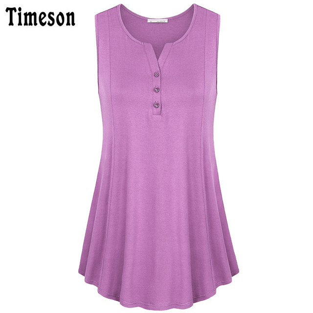 304ddf82bd265 Timeson womens summer sleeveless neck a line flowy tunic tank top casual  ladies button knitting tunic