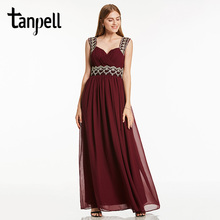 Tanpell straps long evening dress black sleeveless floor length a line gown cheap lady beaded pleats prom formal dresses