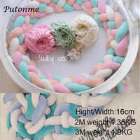 4 Tied Weaving Strip Knot Ball Newborn Bumper Long Knotted Braid Pillow Baby Bed Bumper in the Crib Infant Room Decor Plush Toy