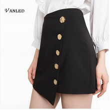 VANLED New Summer 2017 Women's Skirts Fashion Preppy Style Asymmetric Button Elegant Bodycon 5 Size Skirt Women Mini Skirt Z-145