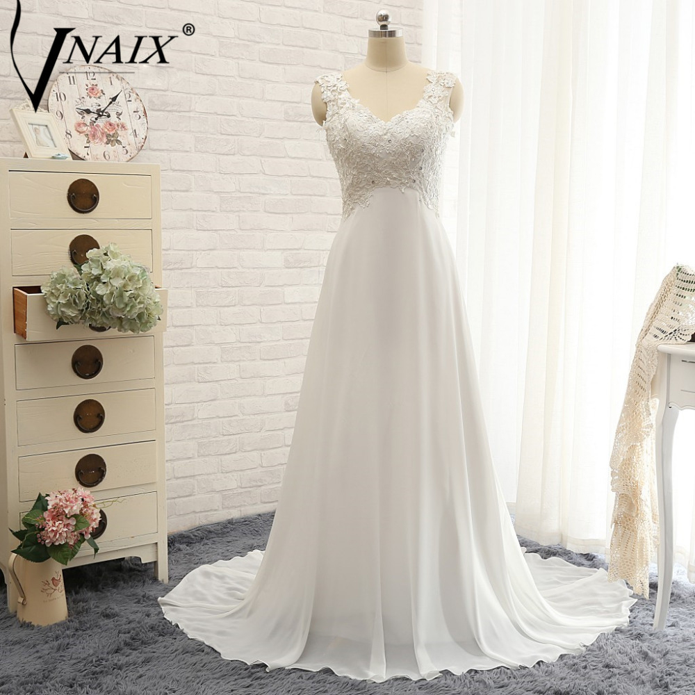 Vnaix W316 New Design Wedding Dresses Sexy V Neck Lace Chiffon White Backless Floor Length Cheap Beach Wedding Dresses