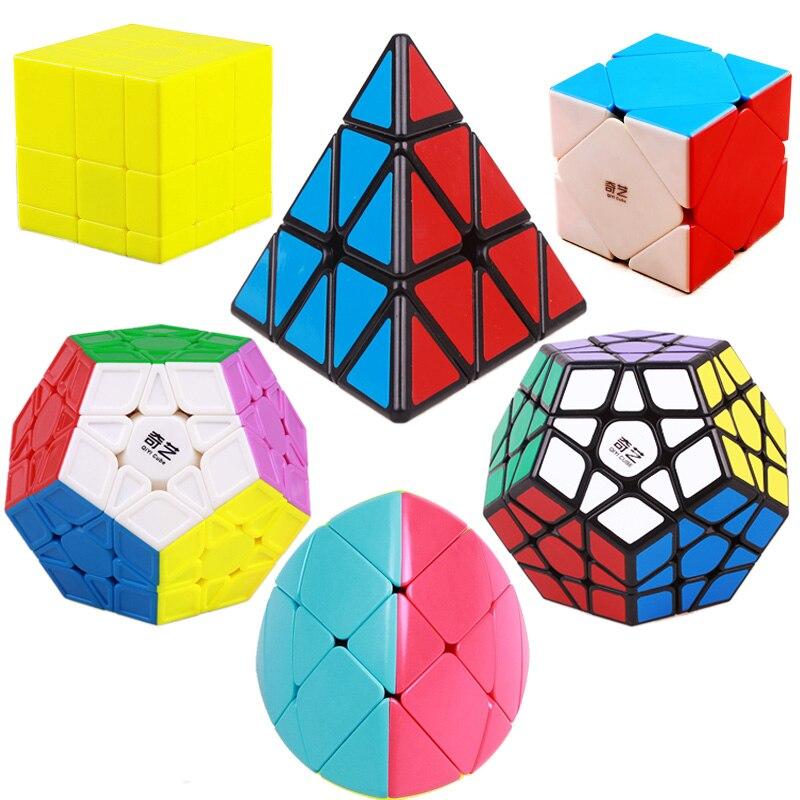 Qiyi megaminxeds stickerless pirâmide cubo profissional velocidade mágica cubos qiyi quebra-cabeça forma especial espelho brinquedo para crianças